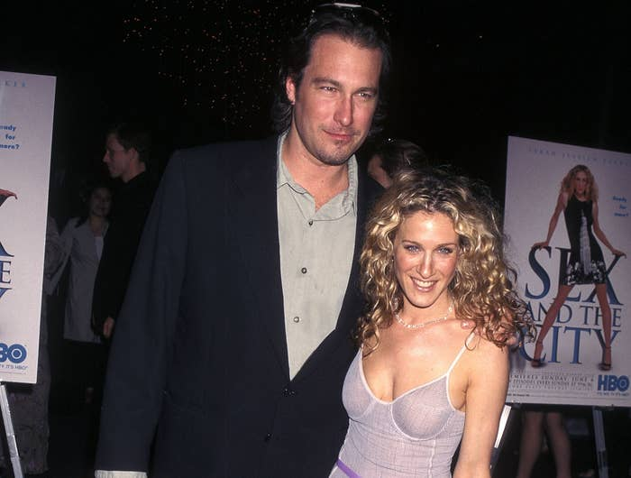 John and Sarah Jessica Parker pose together at a premiere