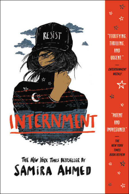 """The book cover of Internment features the main character wearing a hat that says """"Resist"""""""