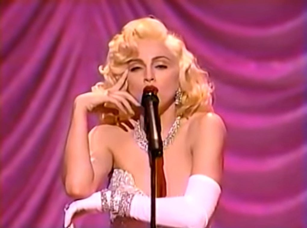 Madonna dressed as Marilyn Monroe