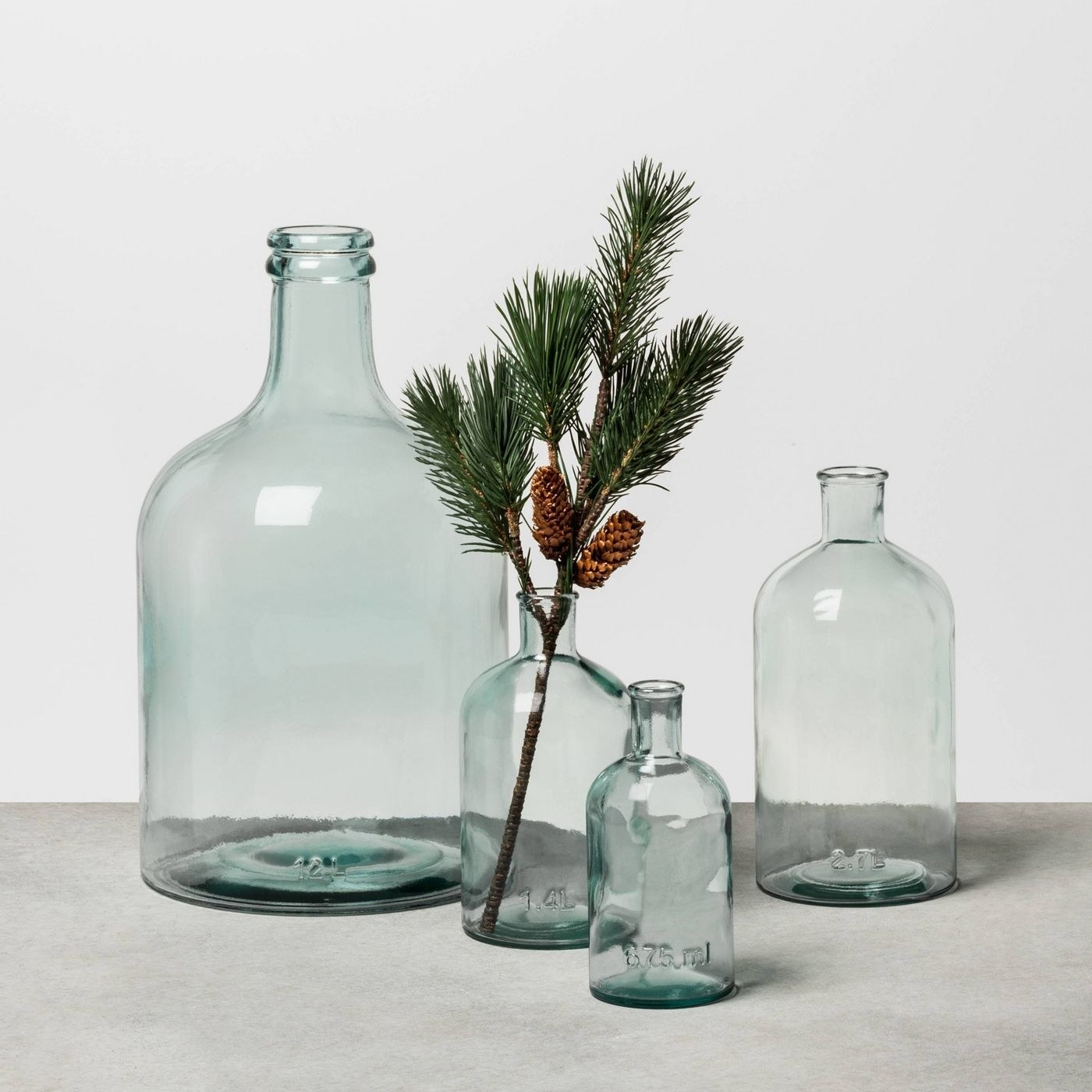 various sizes of clear glass vases on a table, one holding a pine tree branch