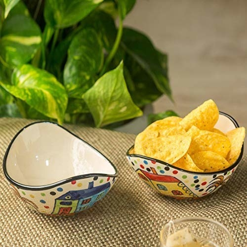 Ceramic bowls with a painted design