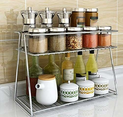 A two-tier shelf with food items on it