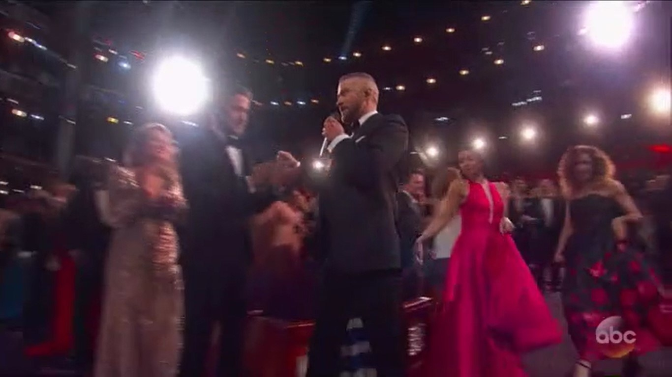 Justin Timberlake performing in the aisles at the Oscars