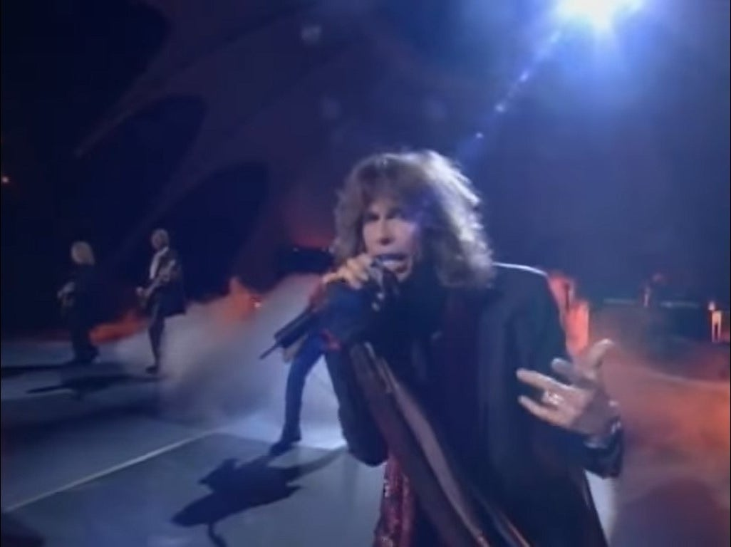 Steven Tyler performing at the Oscars with Aerosmith