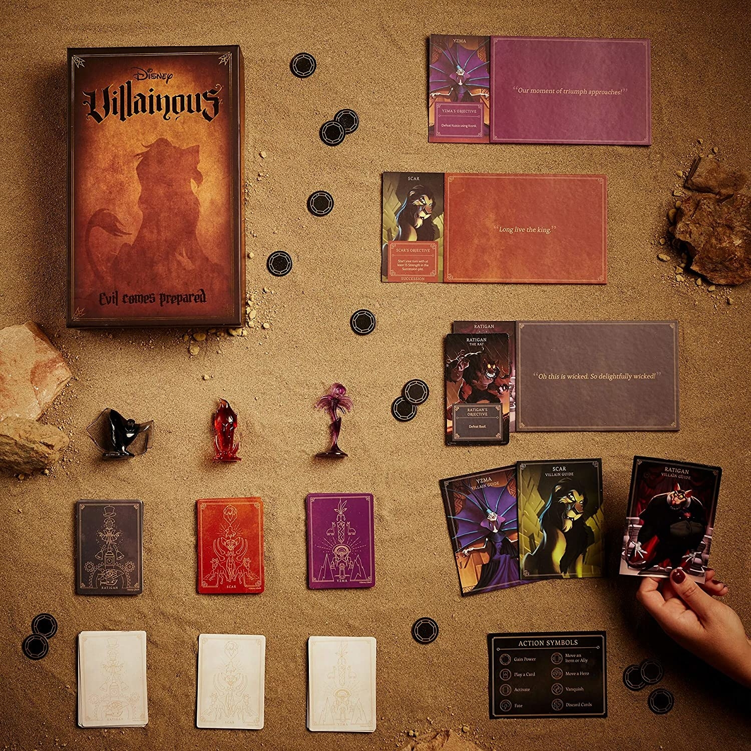 The pieces, cards, and board for the Disney Villans game