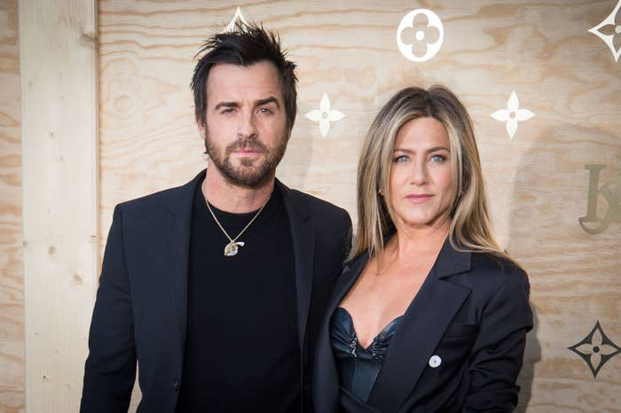 Theroux and Aniston at a Louis Vuitton dinner in 2017