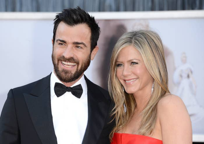 Theroux and Jennifer Aniston at the 2013 Oscars