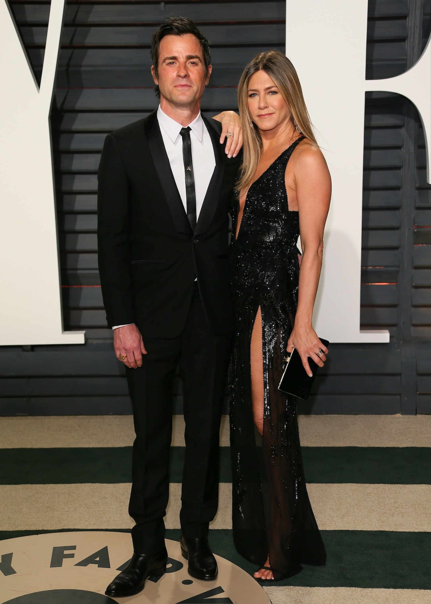 Aniston and Theroux at the 2017 Vanity Fair Oscar Party