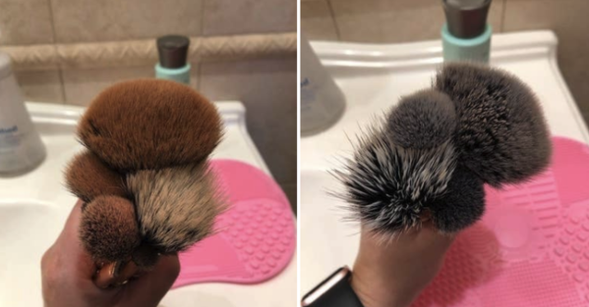 person holding makeup brushes stained brown with makeup, then the completely clean brushes
