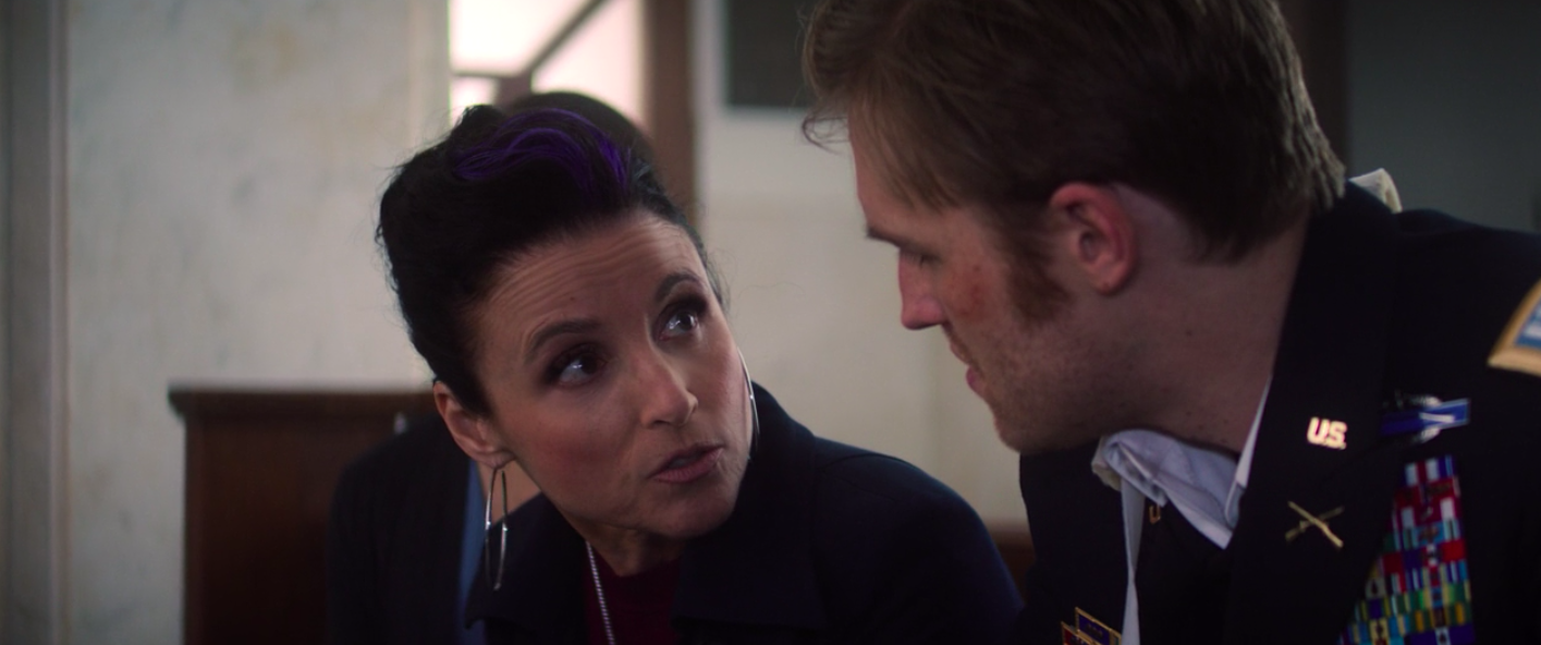 Julia Louis-Dreyfus talking to Fake Captain America