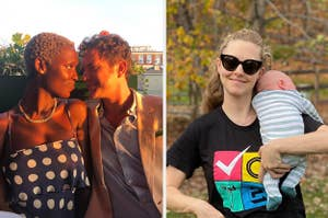Jodie Turner-Smith and Joshua Jackson looking at one another; Amanda Seyfried holding her baby