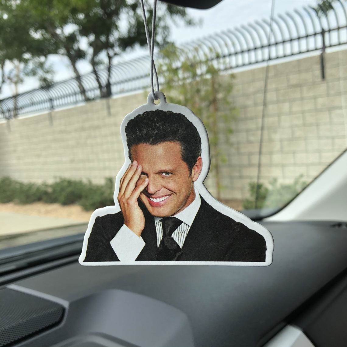 The air freshener hanging in a car's rear view mirror
