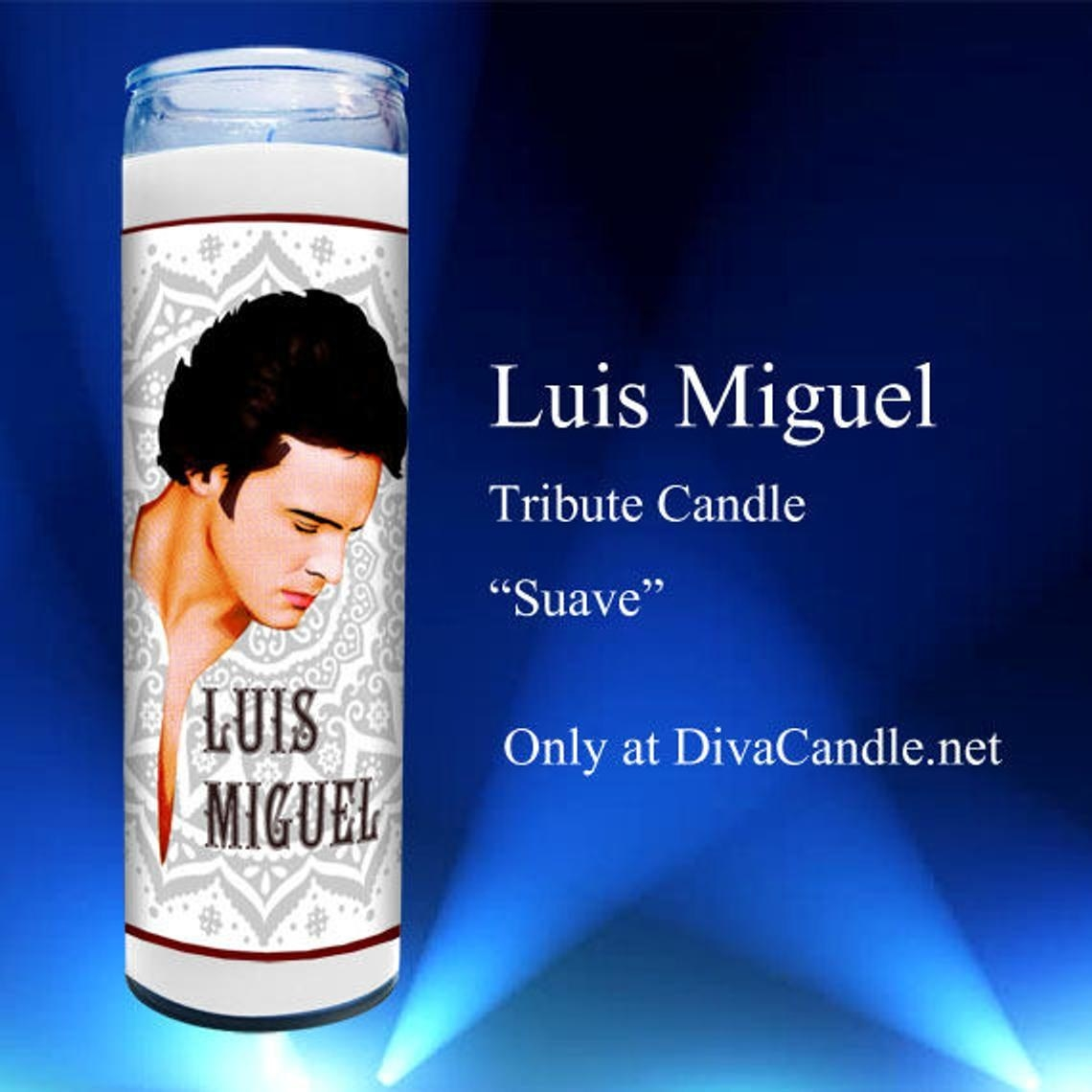 The tall candle with an image of Luis Miguel