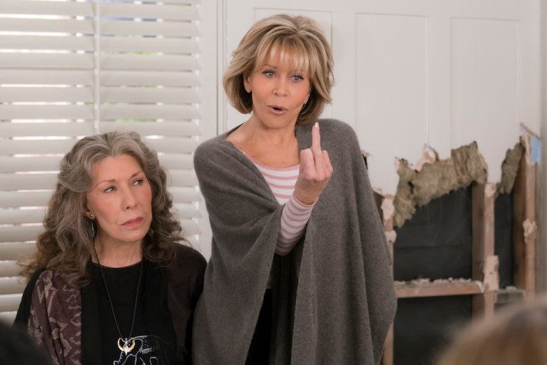 """Jane Fonda as Grace Hanson and Lily Tomlin as Frances """"Frankie"""" Bergstein in the show """"Grace and Frankie."""""""