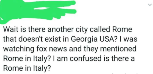 person confusing rome georgia with rome italy