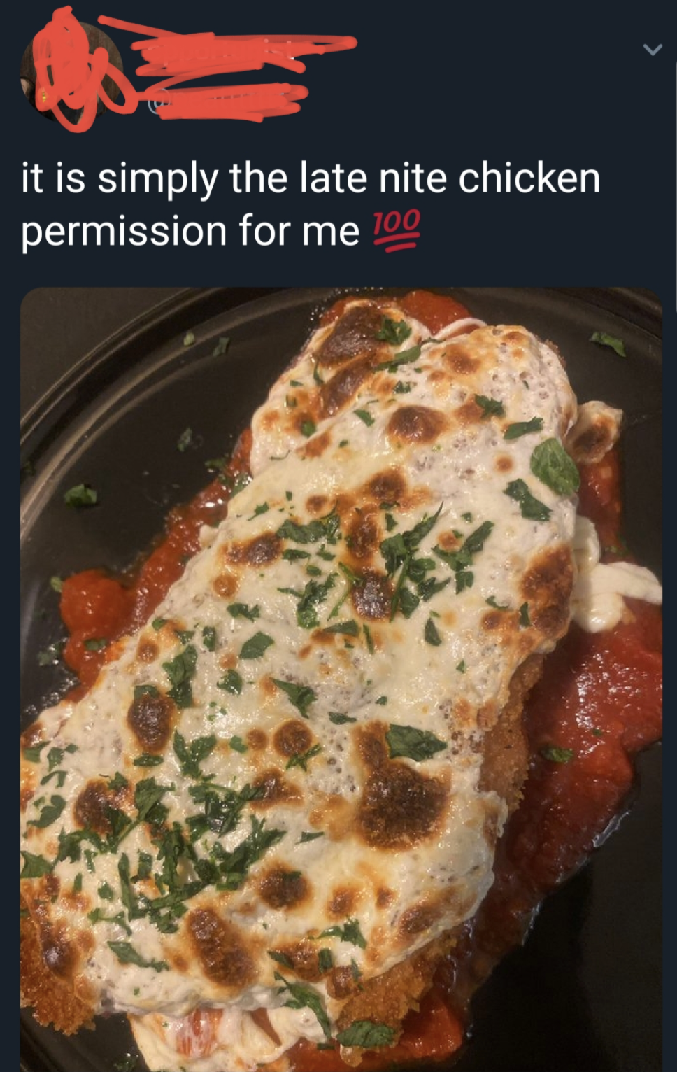 person calling chicken parm chiicken permission
