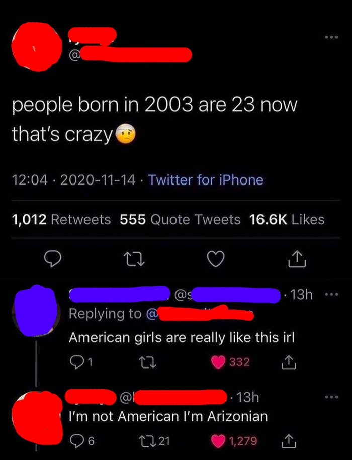 person saying people born in 2003 are 23 now