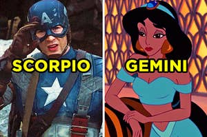 "On the left, Captain America labeled ""Scorpio,"" and on the right, Jasmine from ""Aladdin"" labeled ""Gemini"""