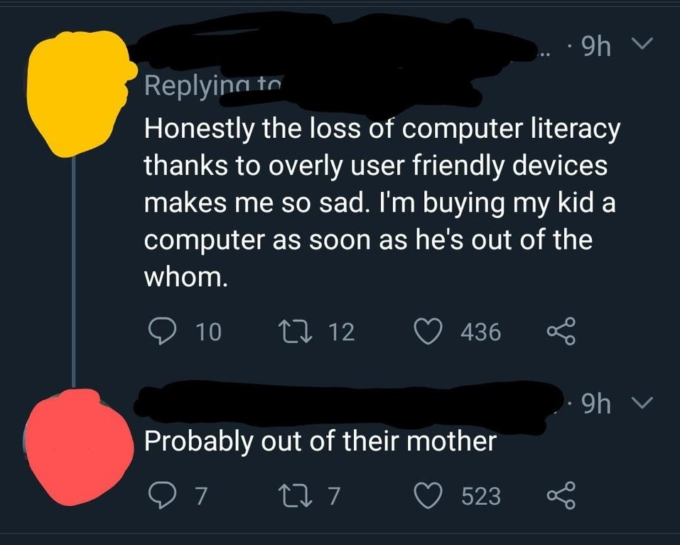 tweet about someone spelling womb as whom