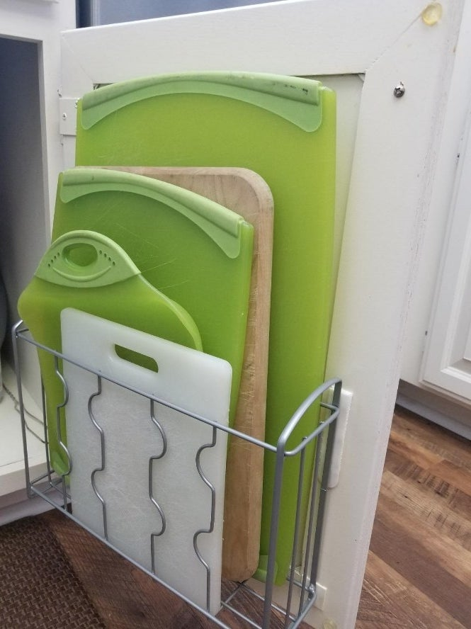 Amazon reviewer photo of organizer in cabinet