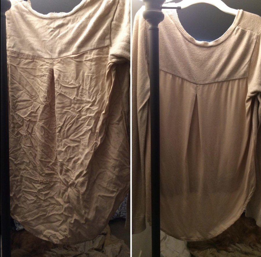 Amazon reviewer before and after photo of shirt being steamed