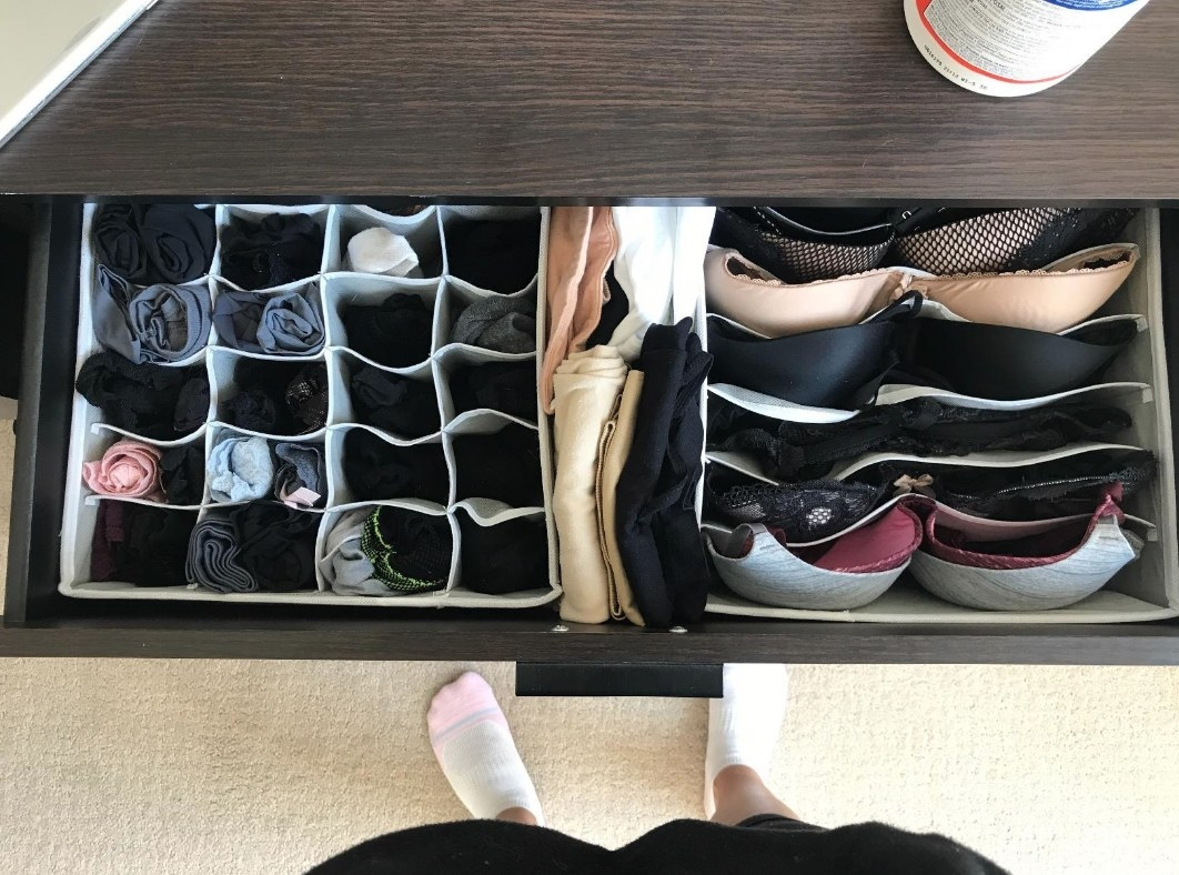 a reviewer's organizers in their dresser