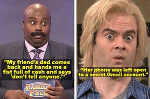 Two SNL characters reacting to these wild stories