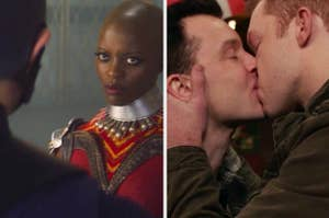 Ayo from Falcon and the Winter Soldier and Mickey and Ian kissing on Shameless