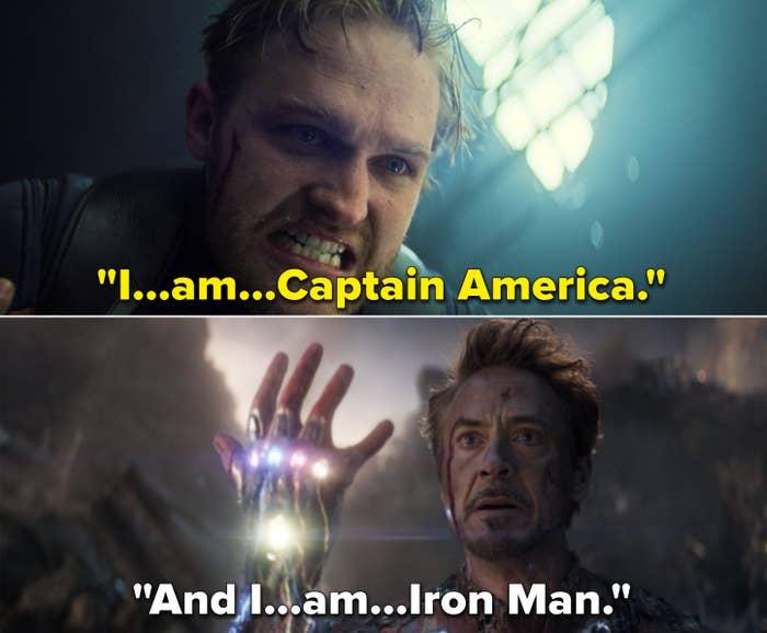 """John saying, """"I am Captain America"""" vs. Tony saying, """"And I am Iron Man"""" in Endgame"""