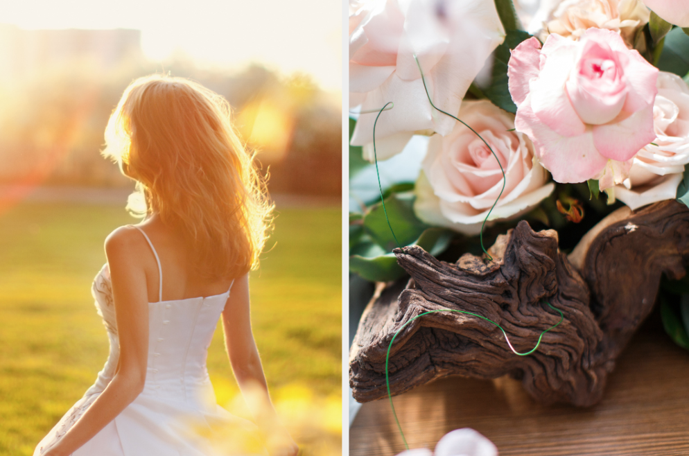 Bride in the sun and flowers