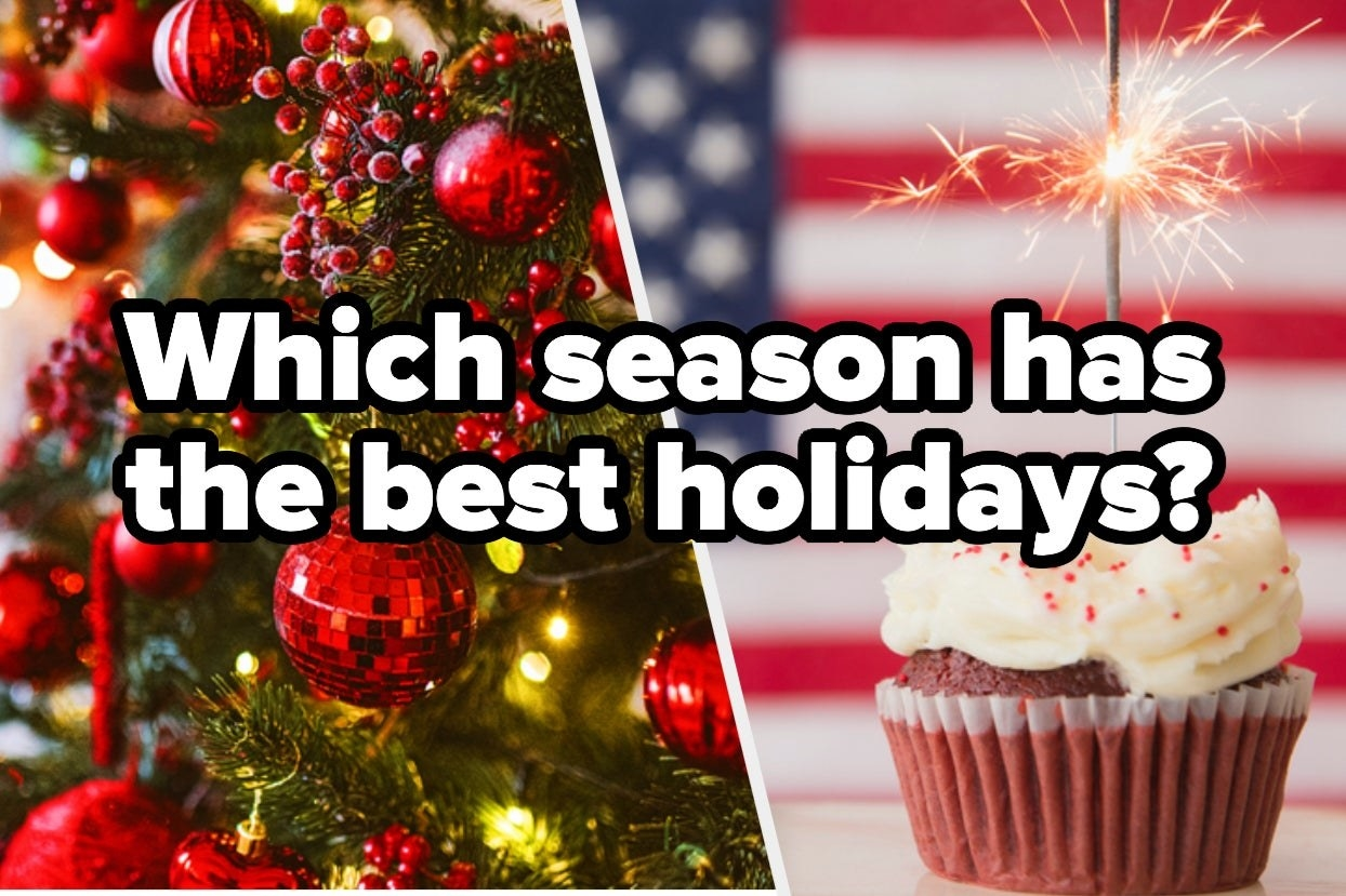 """Christmas tree and fourth of July cupcake with the words """"Which season has the best holidays?"""""""