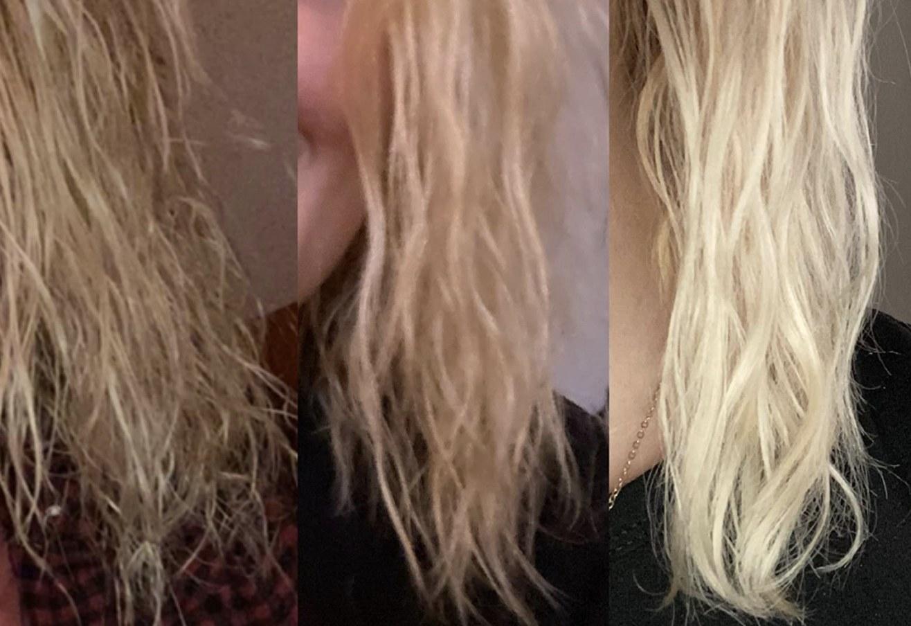 A person's hair going through the treatment