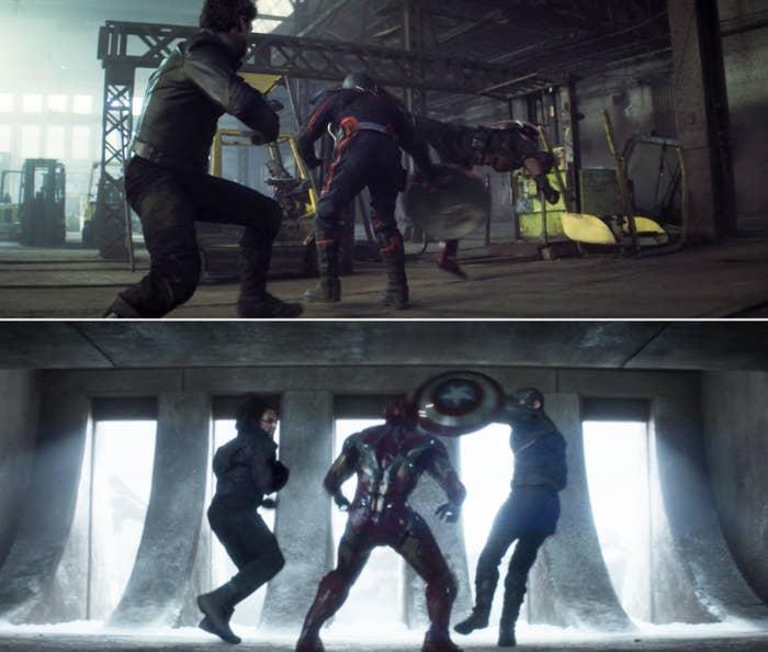 Sam, Bucky, and John fighting vs. Steve, Tony, and Bucky fighting