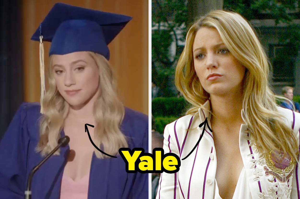 """""""Yale"""" an arrows pointing to Betty Cooper and Serena van der Woodsen"""