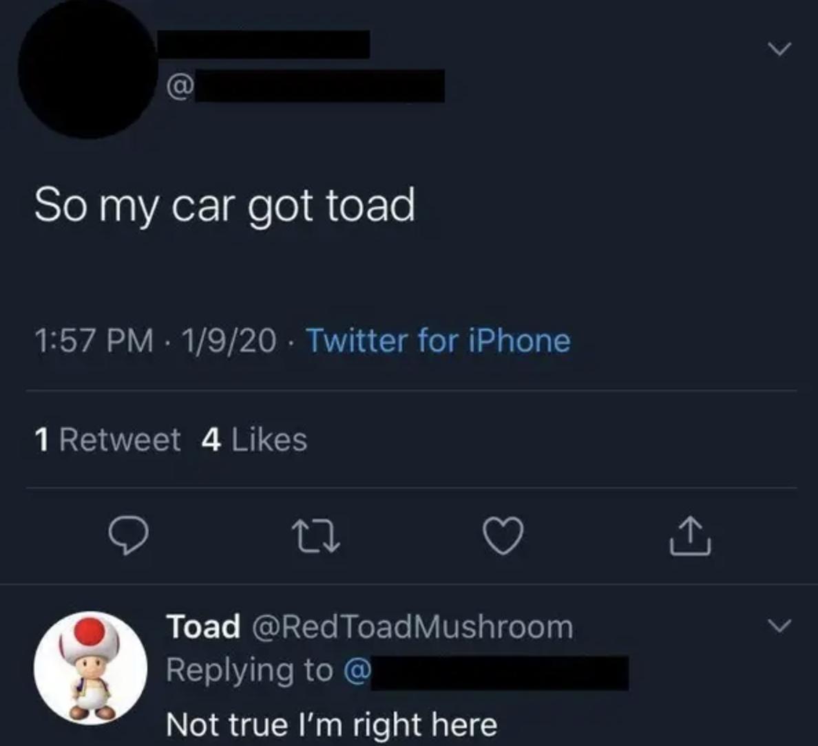 tweet mispelling towed as toad like the animal