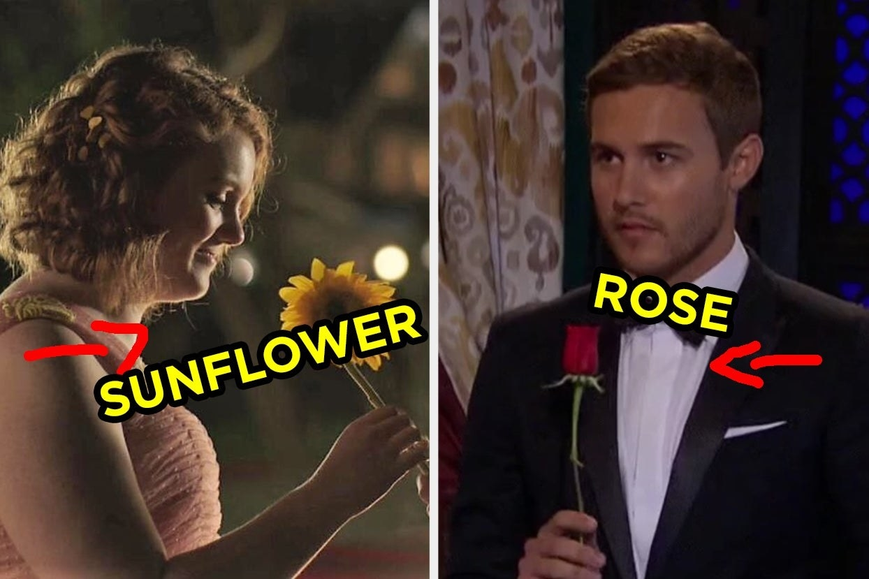 Girl holding sunflower and guy holding rose