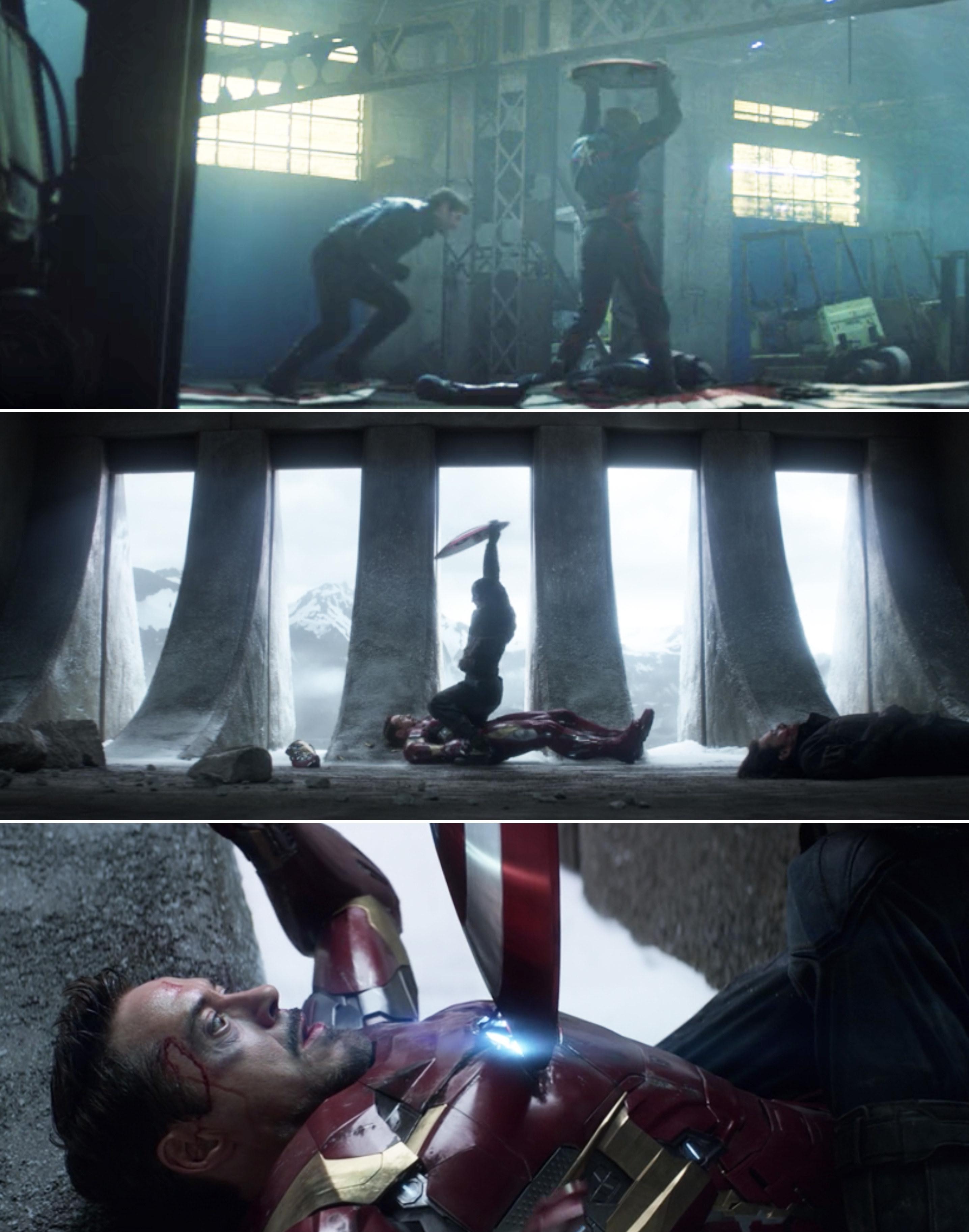 John holding the shield over his head vs. Steve doing the same