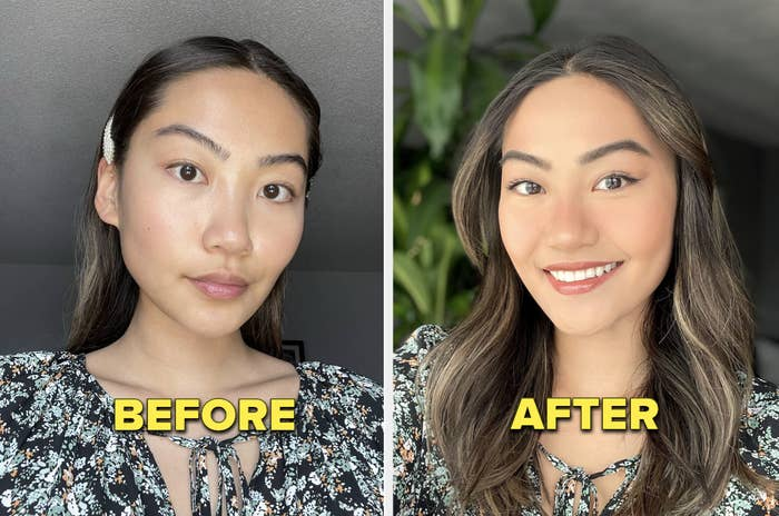 before and after of May with and without makeup