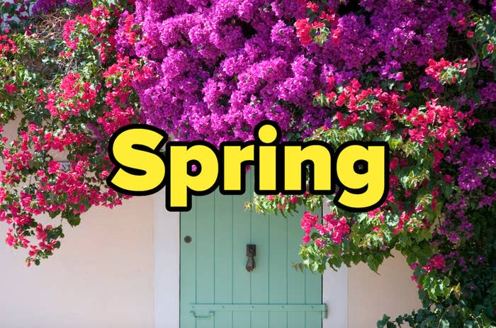 """Front door with flowers and the word """"Spring"""""""