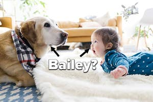 A dog and a baby both lying on the floor with the name
