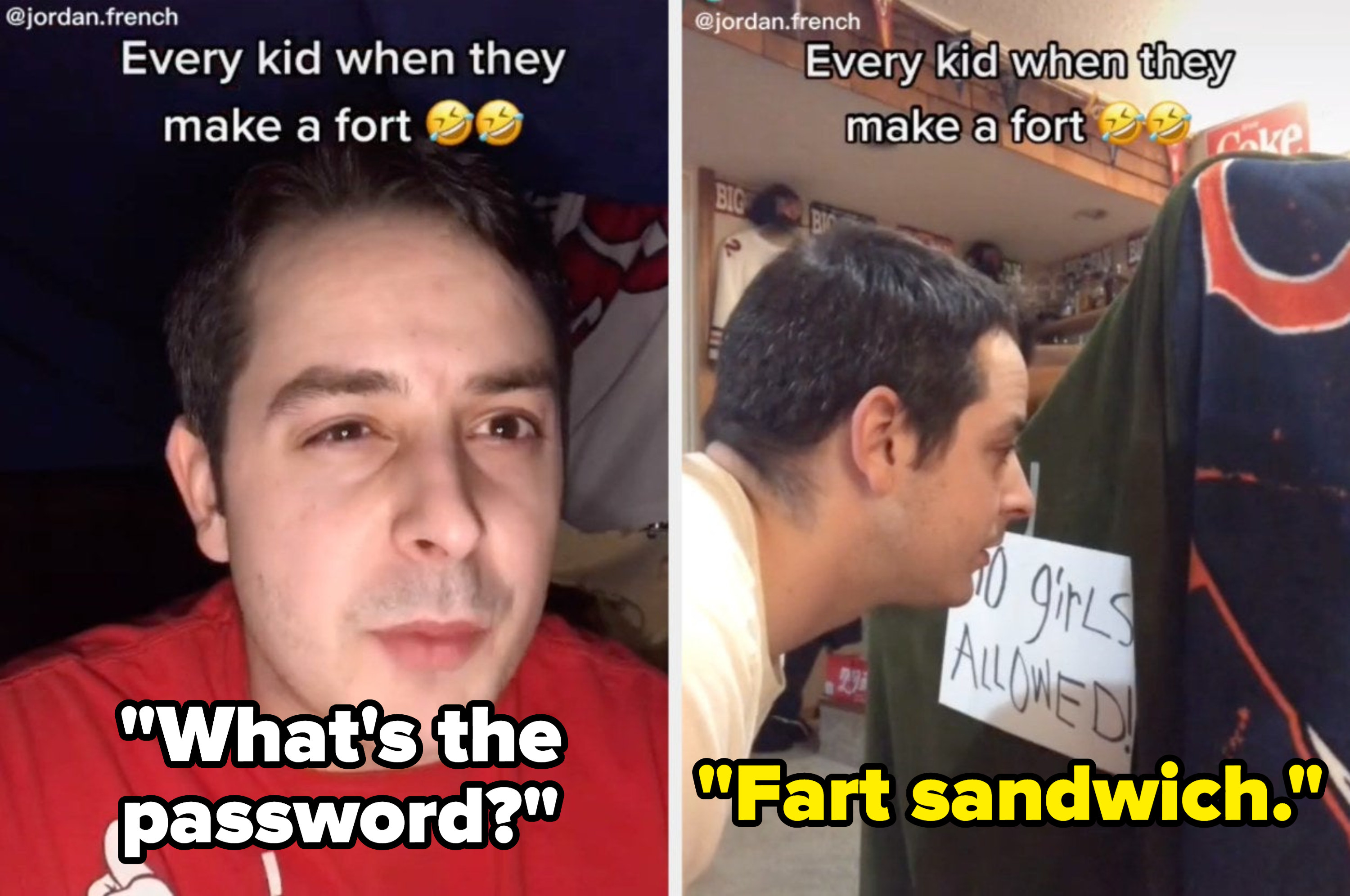 """A TikToker pretends to be a kid saying, """"What's the password?"""" and then replies, """"Fart sandwich"""""""