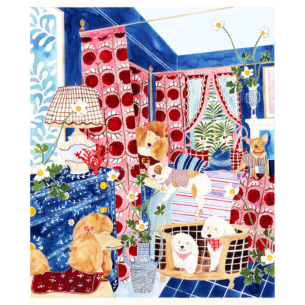 Watercolor and pencil artwork of dogs in a colorful bedroom