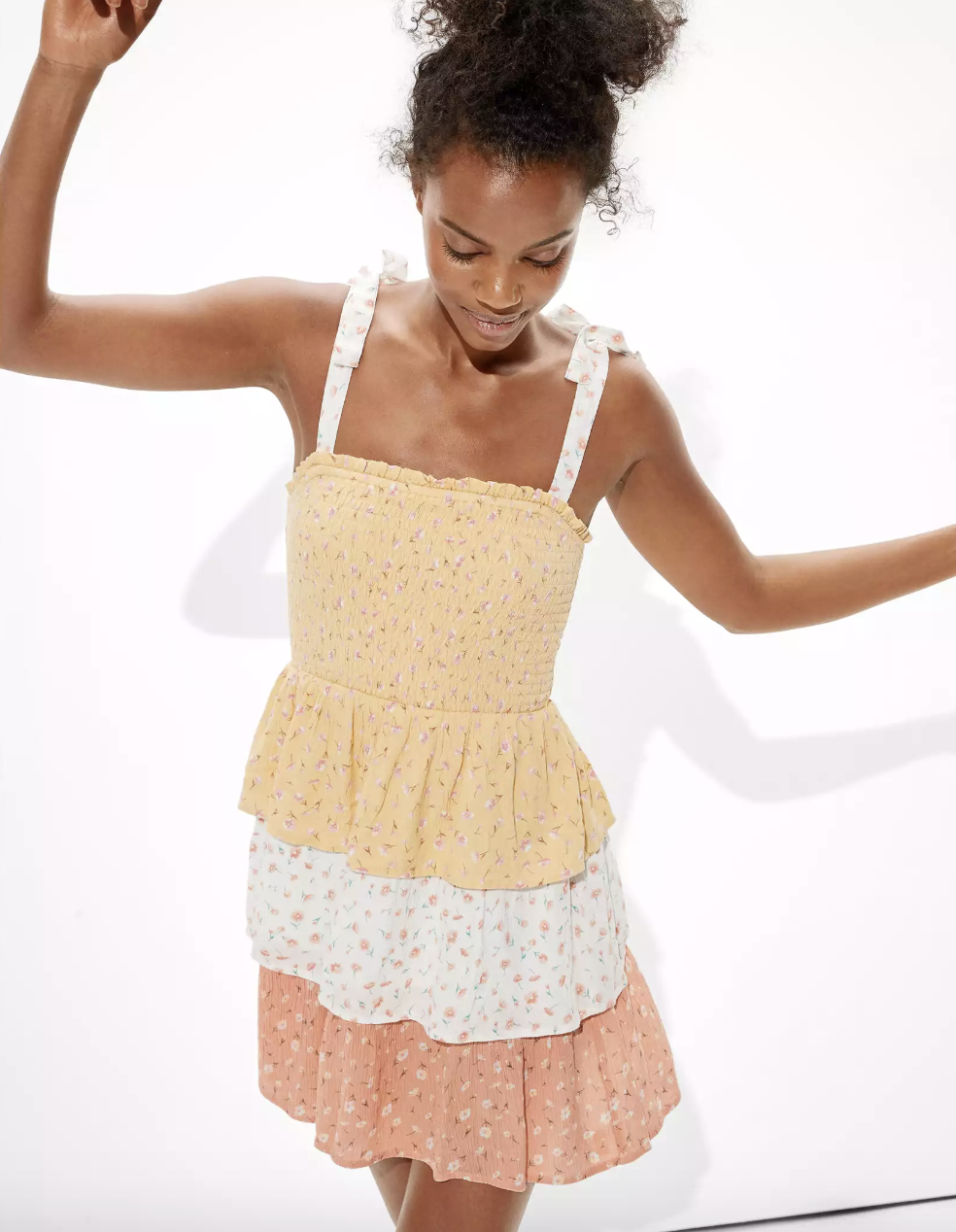 model wearing the tiered dress