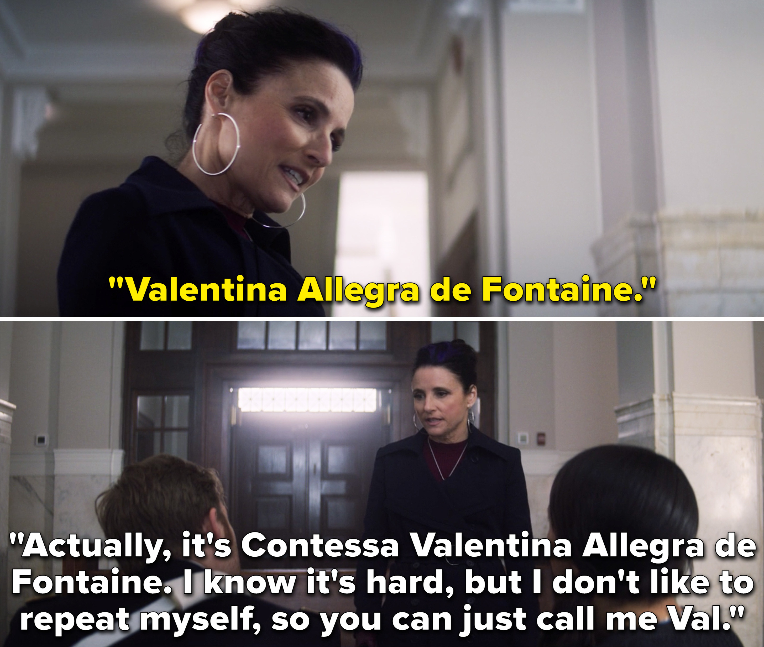"""Val introducing herself to John Walker and his wife and saying, """"Actually, it's Contessa Valentina Allegra de Fontaine"""""""