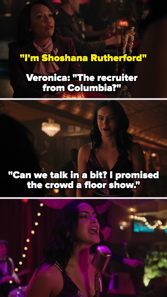 Veronica delays a college interview to perform for the crowd at her speakeasy