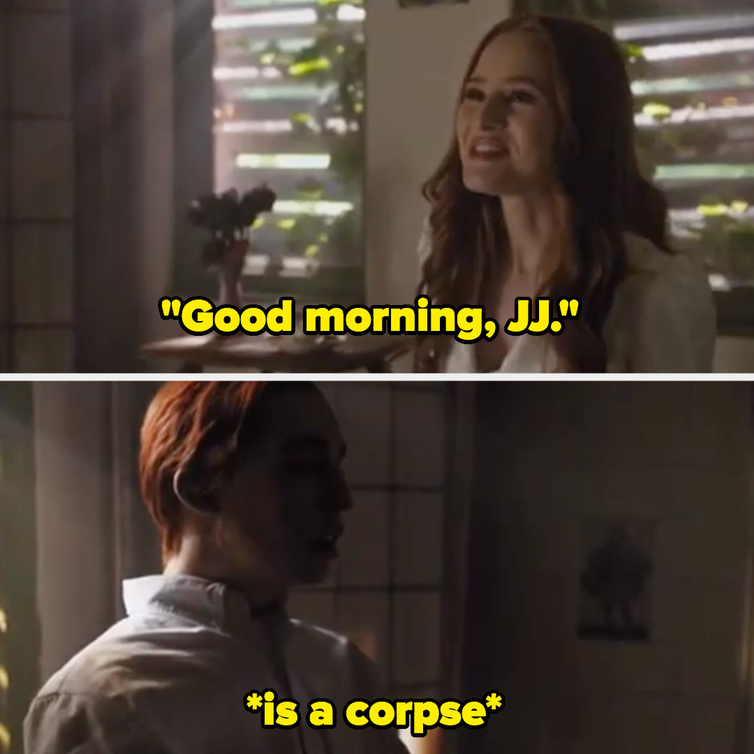 Cheryl says good morning to the preserved corpse of her dead twin brother