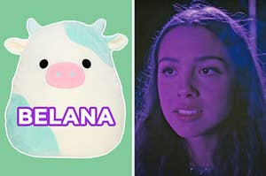 """On the left, Belana the cow Squishmallow, and on the right, Olivia Rodriguez in the """"Drivers License"""" music video"""