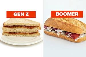 gen z pb&j and boomer ham sandwich