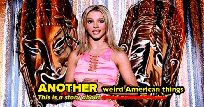 A britney spears screenshot from her lucky music video that says this is another story about weird american things