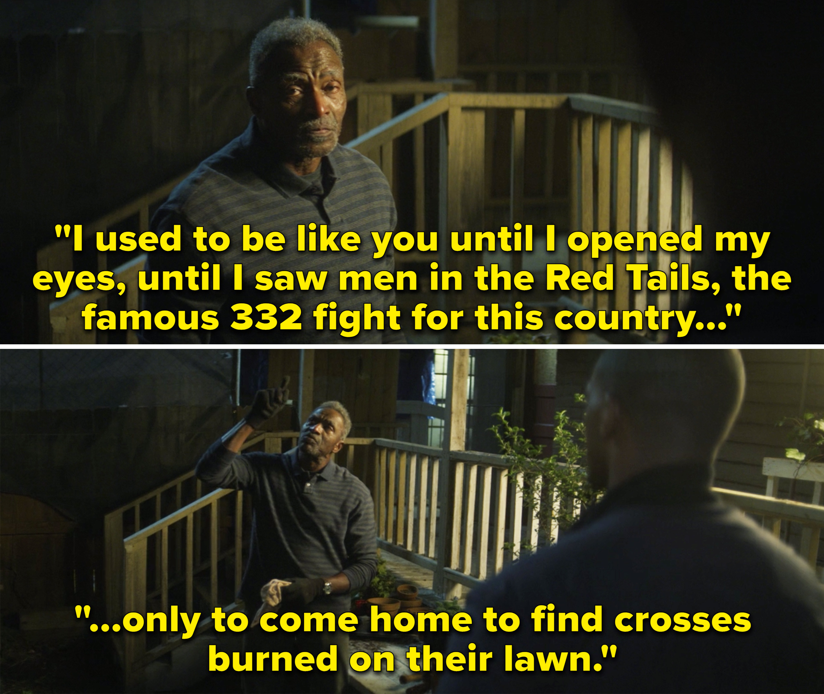 """Isaiah saying he used to be like Sam until he saw the Red Tails and the famous 332 """"fight for this country only to come home to find crosses burned on their lawn"""""""